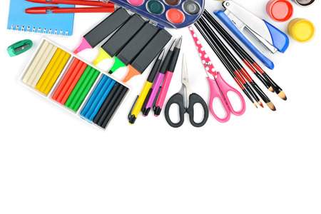 Collection of school supplies, isolated on pure white background. Flat lay, top view. Free space for text.