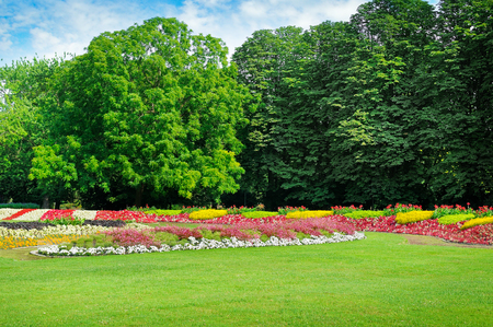 Summer park with beautiful flower beds and lawn.