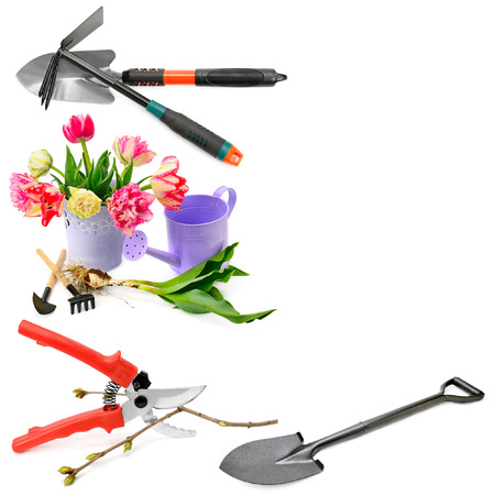 A set of garden tools isolated on white background. Collage. Free space for text. Stock Photo - 94597937