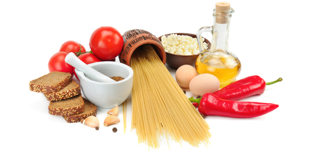 Set of natural products isolated on white background. Healthy food. Wide photo.