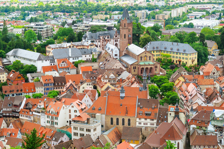 Beautiful panorama of the old town of Mannheim, Germany. View from above.