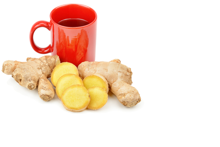 Ginger root and ginger tea isolated on white 免版税图像
