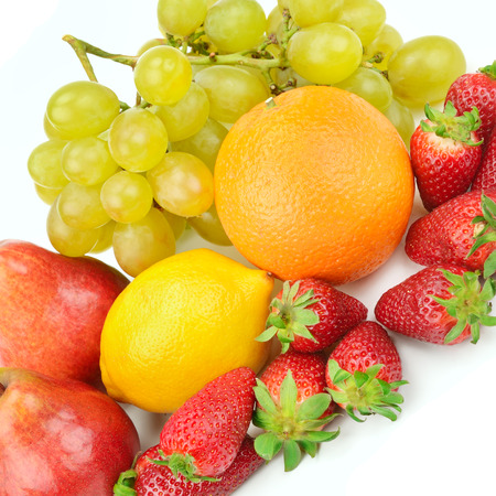 Fruit and berries isolated on white