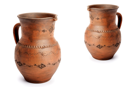 Clay pots isolated on white background. Eco-friendly household utensils.