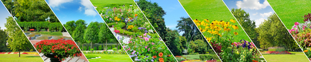 Spring gardens with beautiful flower beds and lawns. Panoramic collage. Wide photo.