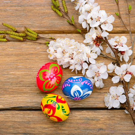 Easter eggs and a sprig of blossoming apricot on a wooden background. Stock Photo