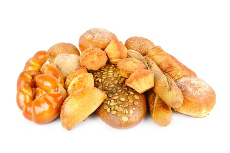 Breads and bakery products isolated on white background .