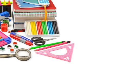 A set of school and office supplies isolated on a white background. Free space for text. School sale. Wide photo.