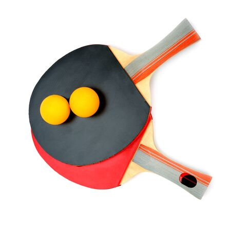 Table tennis rackets and ball isolated on white background.