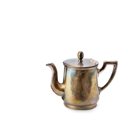 Coffeepot isolated on white background. Free space for text.