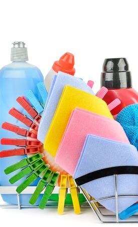 Set of household chemicals and brushes for cleaning isolated on white background.