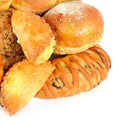Breads and bakery products isolated on white background . Free space for text.