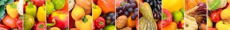 Background of Collection fresh fruits and vegetables . Panoramic collage. Wide photo
