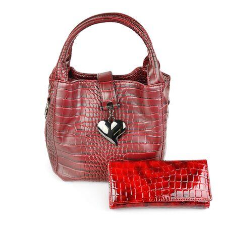 Fashionable womens handbag and purse isolated on white background. Ecoskin products.