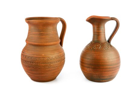 Set of old ceramic pot - kitchen retro equipment of cooking isolated on white background. 스톡 콘텐츠