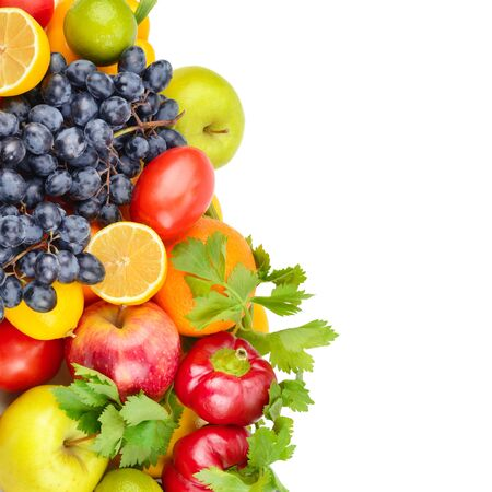 Fruits and vegetables isolated on a white background. Healthy food. Free space for text.