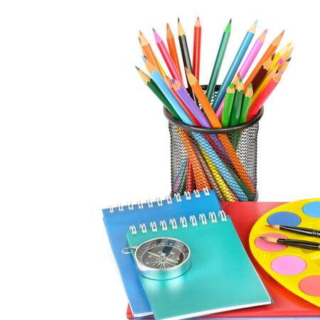 A set of school and office supplies isolated on a white background. Free space for text.