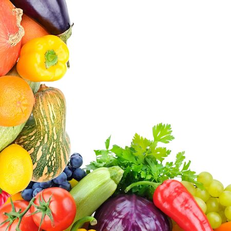 Frame of set vegetables and fruits on white background. Copy space. Top view. Free space for text. 스톡 콘텐츠
