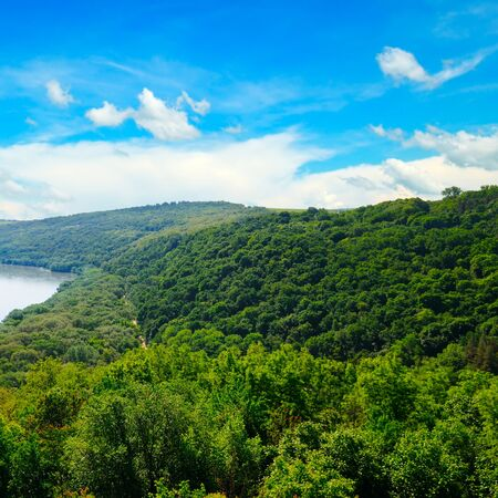 Beautiful natural landscape of the river and forest. View from above. 스톡 콘텐츠