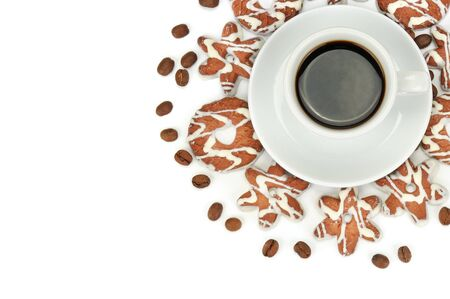 Cup with coffee, beans coffee and biscuits isolated on white background. Flat lay, top view. Free space for text. 스톡 콘텐츠
