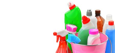 Set of household chemicals and brushes for cleaning isolated on white