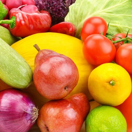 A set of fresh vegetables and fruits. Bright beautiful background.