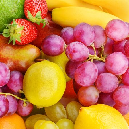 Bright beautiful background of ripe fruits. Organic healthy food.