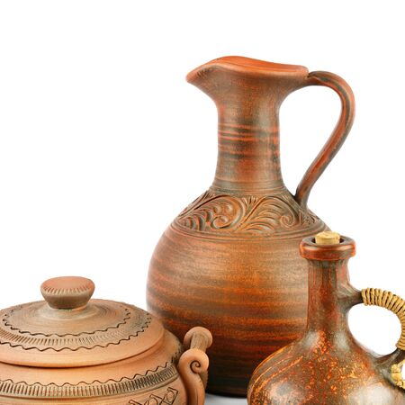 Set of old ceramic pot - kitchen retro equipment of cooking isolated on white