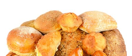 Collection breads and buns isolated on a white