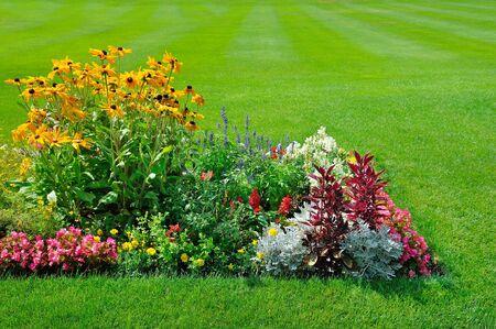 Vue panoramique sur des parterres de fleurs colorés, une pelouse verte luxuriante et une herbe sinueuse
