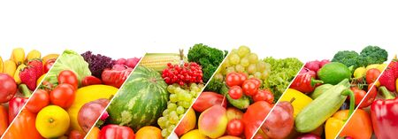 Panoramic collection fresh fruits and vegetables isolated on white background. Collage. Wide photo . Free space for text.