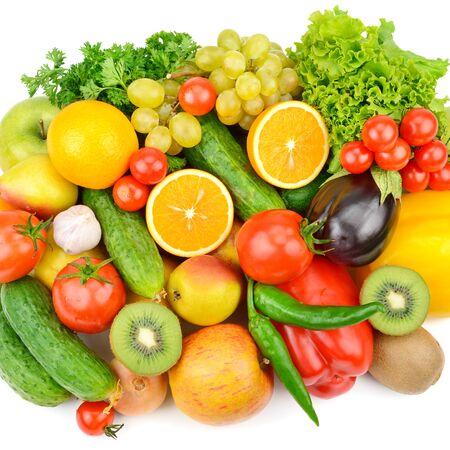 Groenten en fruit geïsoleerd op een witte achtergrond. Gezond eten. Plat lag, bovenaanzicht. Stockfoto