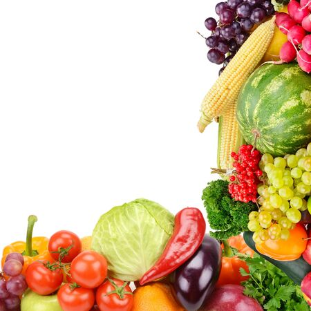Frame of set vegetables and fruits on white background. Copy space. Top view. Free space for text.