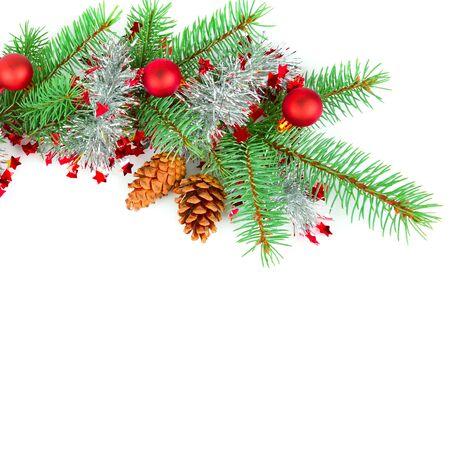Weihnachtsdekor lokalisiert auf einem weißen Hintergrund. Freier Platz für Text.