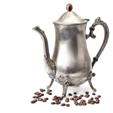 Vintage old coffee pot isolated on white background. Free space for text.