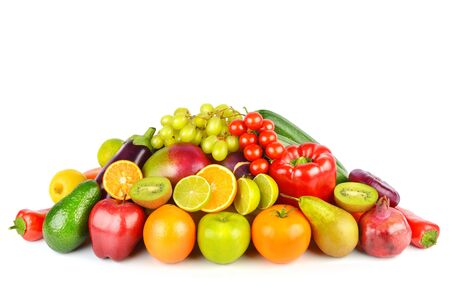 Set of vegetables and fruits isolated on a white
