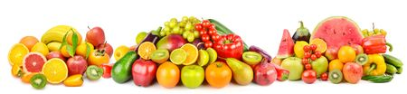 Panoramic collection fresh fruits and vegetables isolated on white background. Collage. Wide photo .