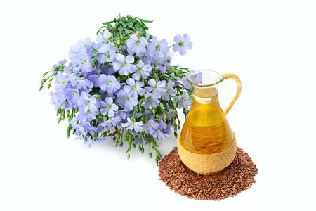Linseed oil, flaxseed and flowers isolated on a white