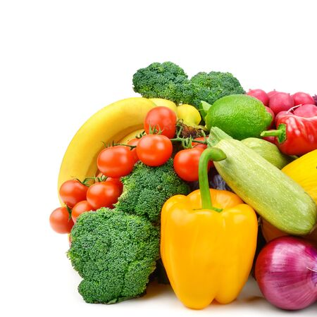 Set of vegetables and fruits isolated on a white background. Banque d'images