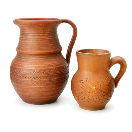Clay jugs Isolated on a white