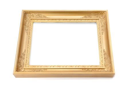Blank Wooden frame. Isolated on white background. Free space for text. Standard-Bild
