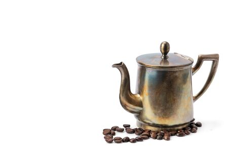 Vintage old coffee pot isolated on white background. Free space for text. Standard-Bild