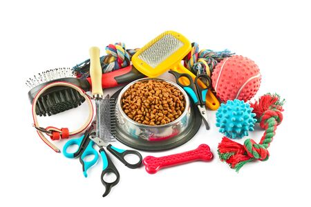 Pet accessories concept. Dry food, collars and rubber toys for pet on isolated white background.