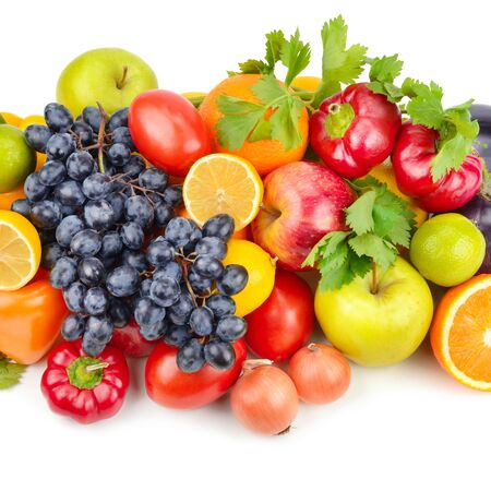 Assortment of fruits and vegetables isolated on white background. Archivio Fotografico