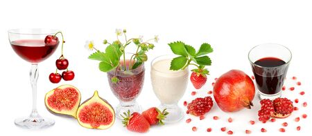 Fruits and juices isolated on a white background. Panoramic collage. Wide photo . Standard-Bild