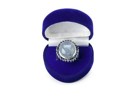 Ring with star blue sapphire isolated on a white