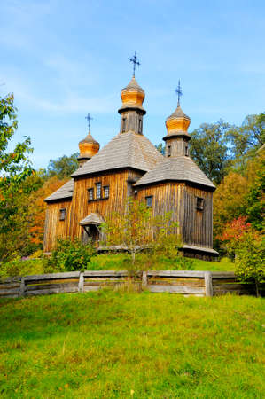 Old wooden orthodox Church of the Resurrection (1789, 18th century). Historical heritage at the Museum of Folk Architecture and Life in Pirogovo, Kyiv, Ukraine. Tourism and travel.