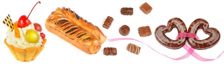Set of confectionery and sweets isolated on a white background. Panoramic collage. Wide photo.