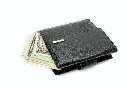 Dollars bills in wallet isolated on white background . Foto de archivo