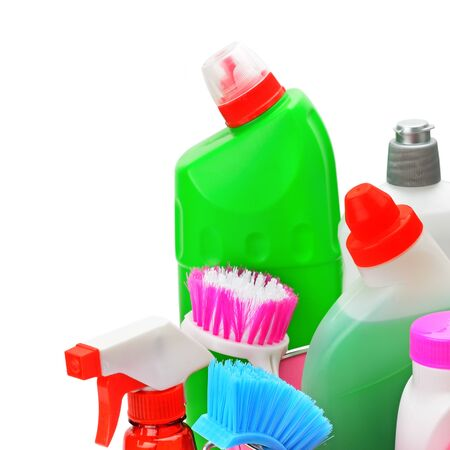 Set of household chemicals for disinfection and cleaning Isolated on a white background. Free space for text.